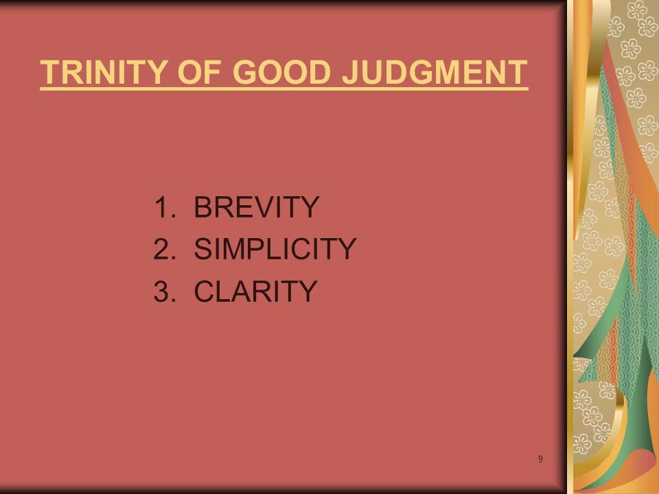 TRINITY OF GOOD JUDGMENT