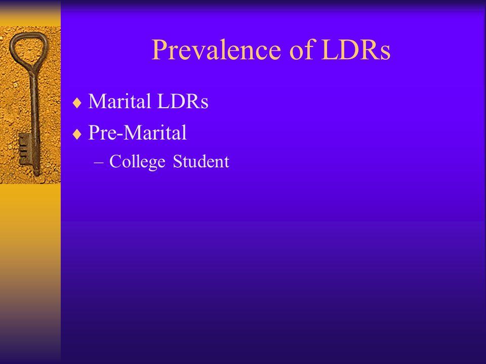 Prevalence of LDRs Marital LDRs Pre-Marital College Student