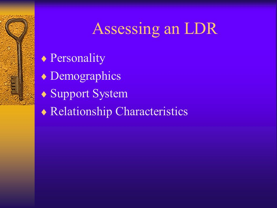 Assessing an LDR Personality Demographics Support System