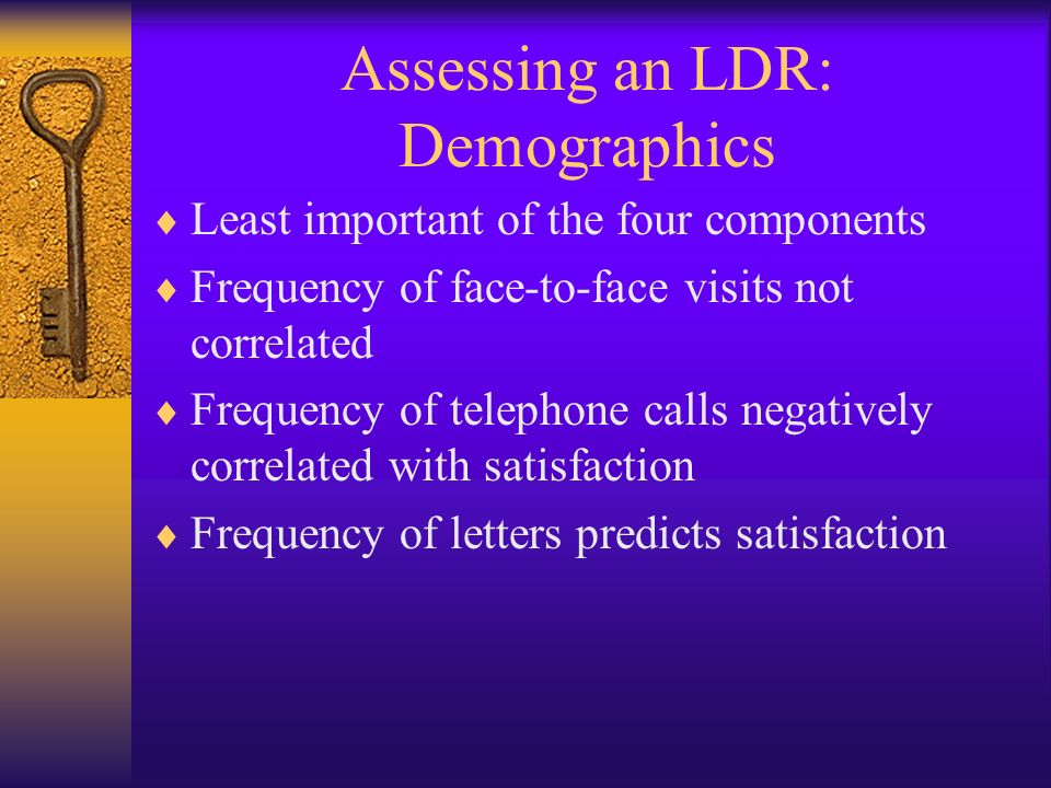 Assessing an LDR: Demographics