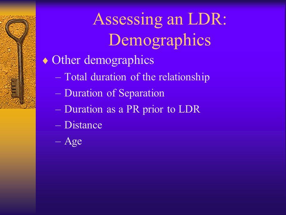Assessing an LDR: Demographics