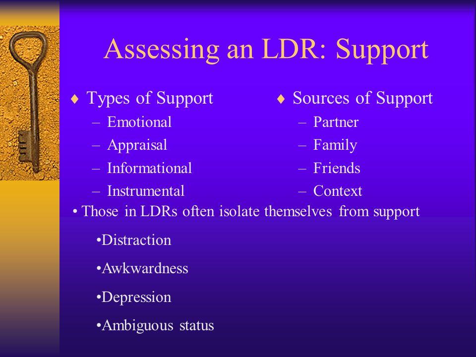 Assessing an LDR: Support