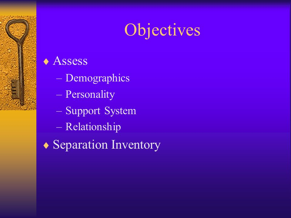 Objectives Assess Separation Inventory Demographics Personality