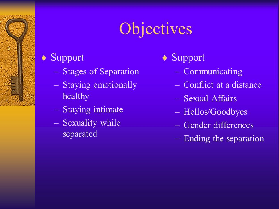Objectives Support Support Stages of Separation