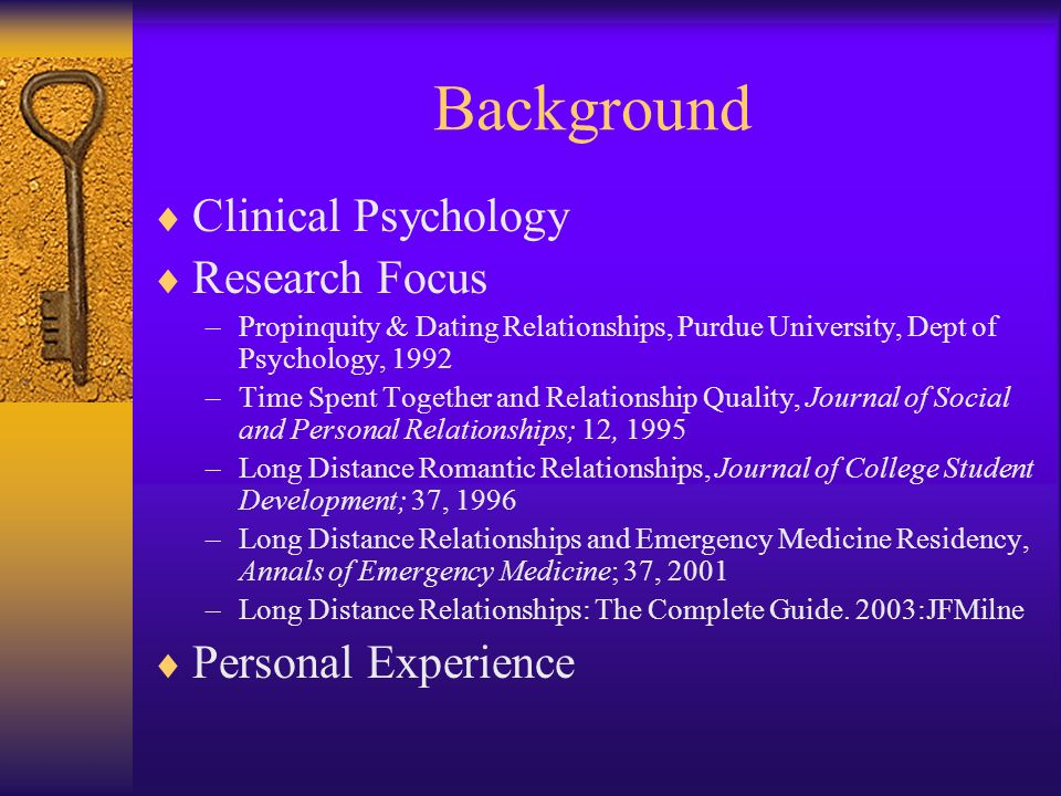 Background Clinical Psychology Research Focus Personal Experience