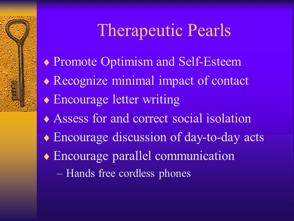 Therapeutic Pearls Promote Optimism and Self-Esteem