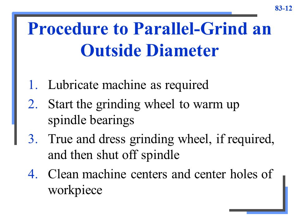 Procedure to Parallel-Grind an Outside Diameter