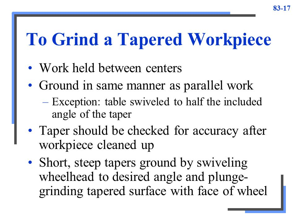 To Grind a Tapered Workpiece