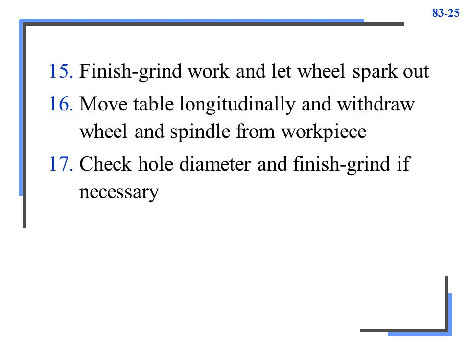 Finish-grind work and let wheel spark out