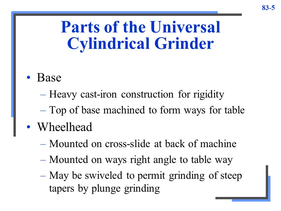 Parts of the Universal Cylindrical Grinder