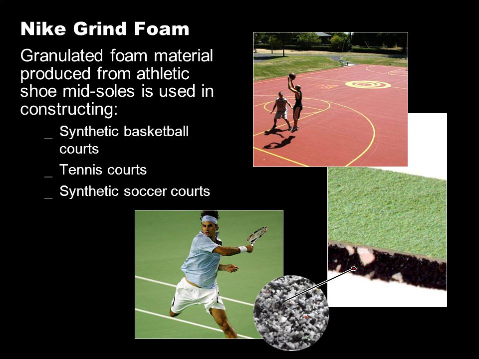 Nike Grind Foam Granulated foam material produced from athletic shoe mid-soles is used in constructing: