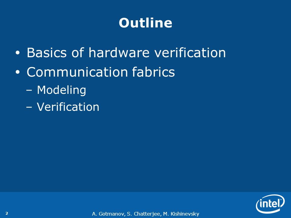 Basics of hardware verification Communication fabrics