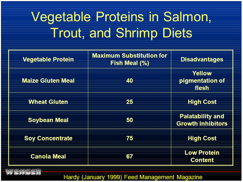 Vegetable Proteins in Salmon, Trout, and Shrimp Diets