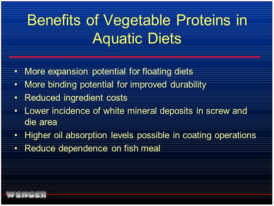 Benefits of Vegetable Proteins in Aquatic Diets