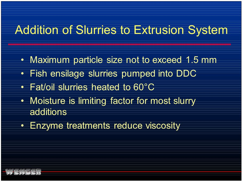 Addition of Slurries to Extrusion System