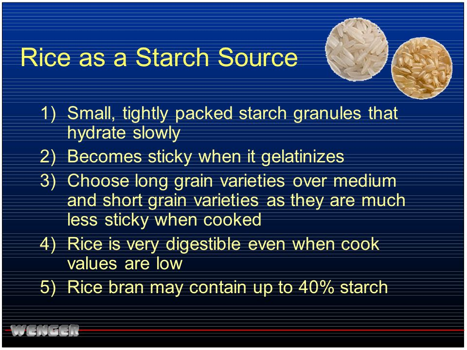 Rice as a Starch Source Small, tightly packed starch granules that hydrate slowly. Becomes sticky when it gelatinizes.