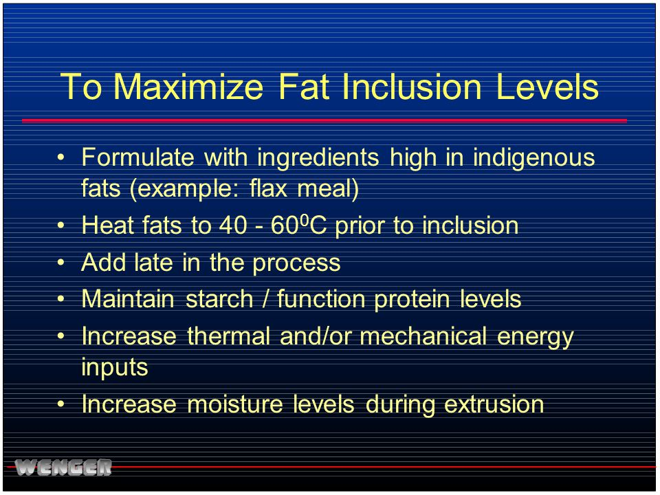 To Maximize Fat Inclusion Levels