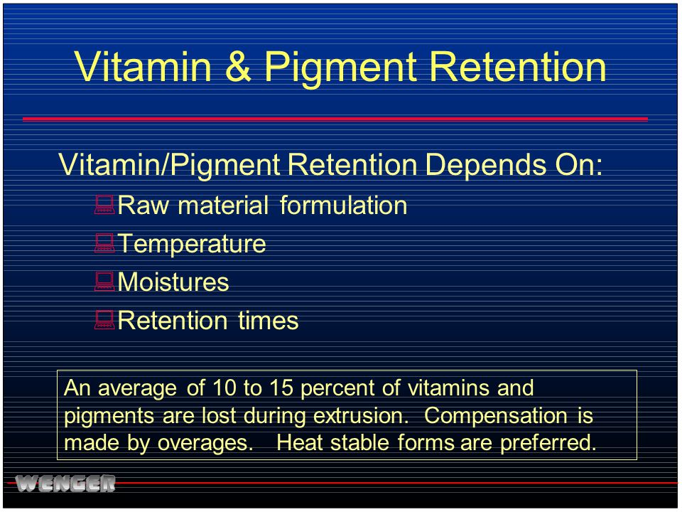 Vitamin & Pigment Retention