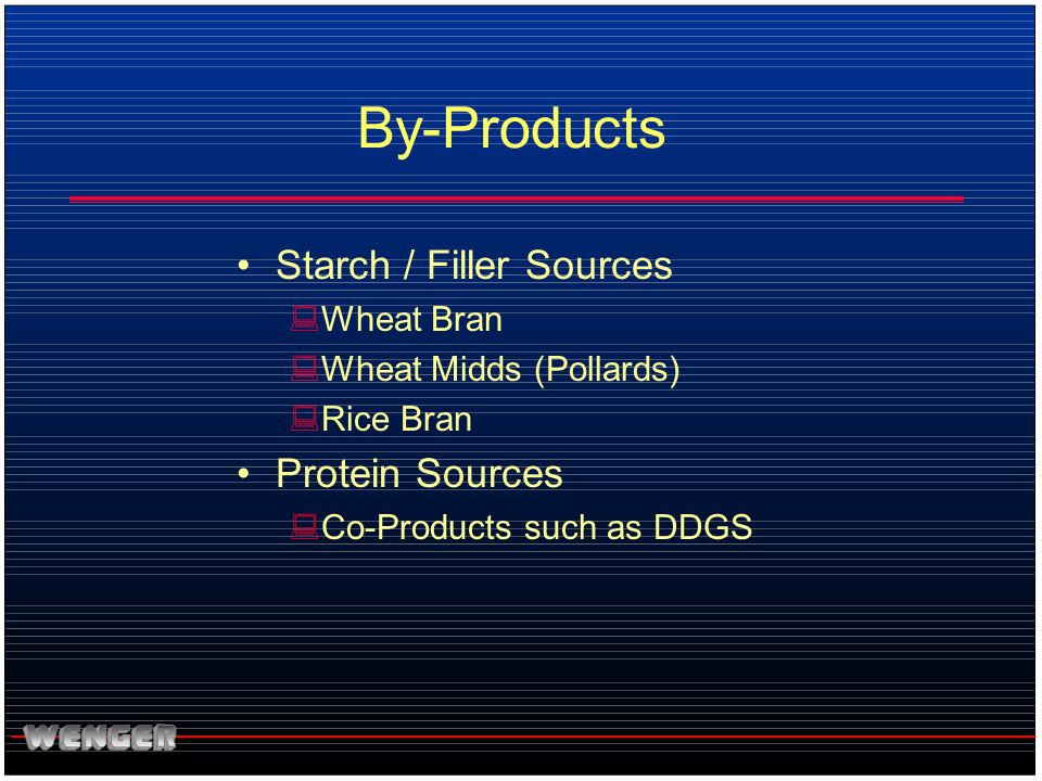 By-Products Starch / Filler Sources Protein Sources Wheat Bran