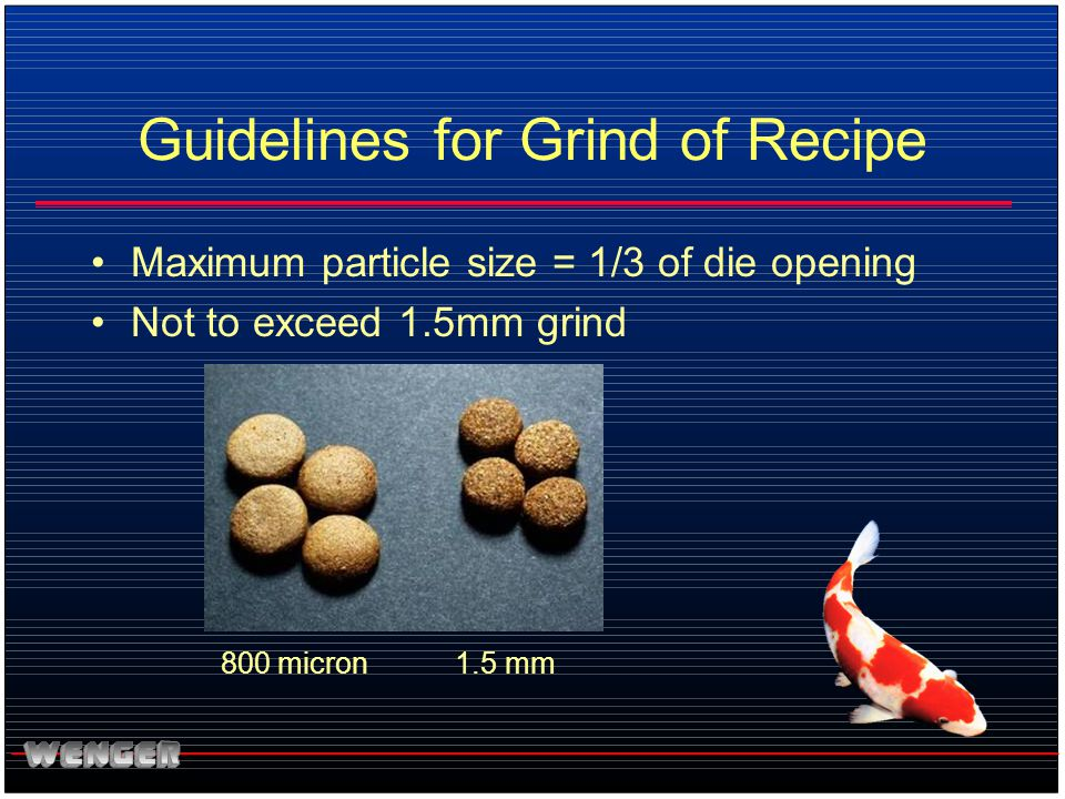 Guidelines for Grind of Recipe