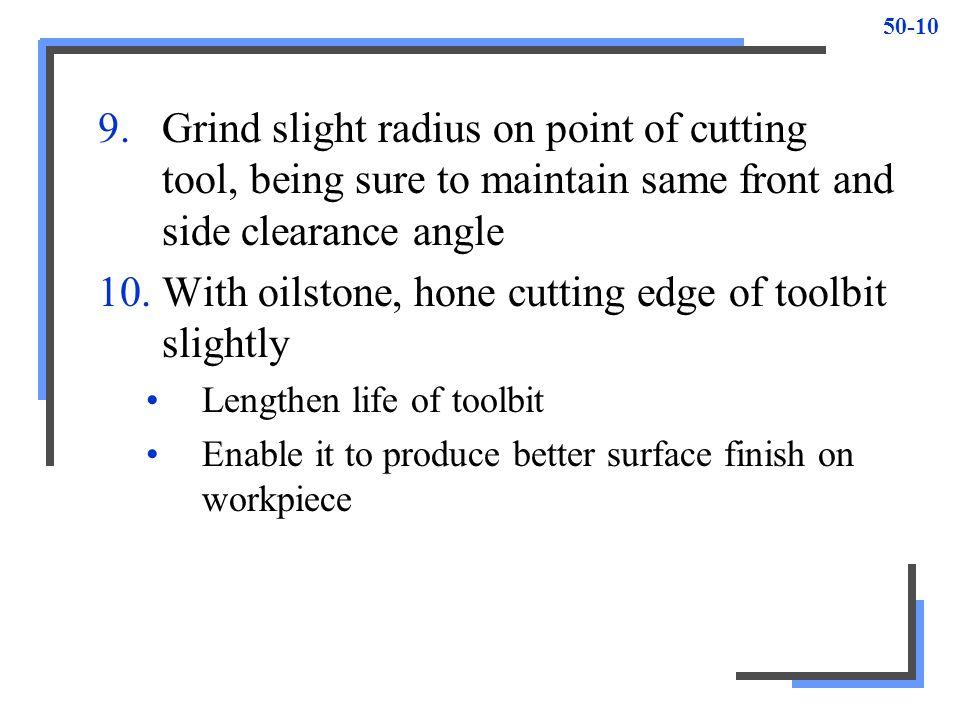 With oilstone, hone cutting edge of toolbit slightly