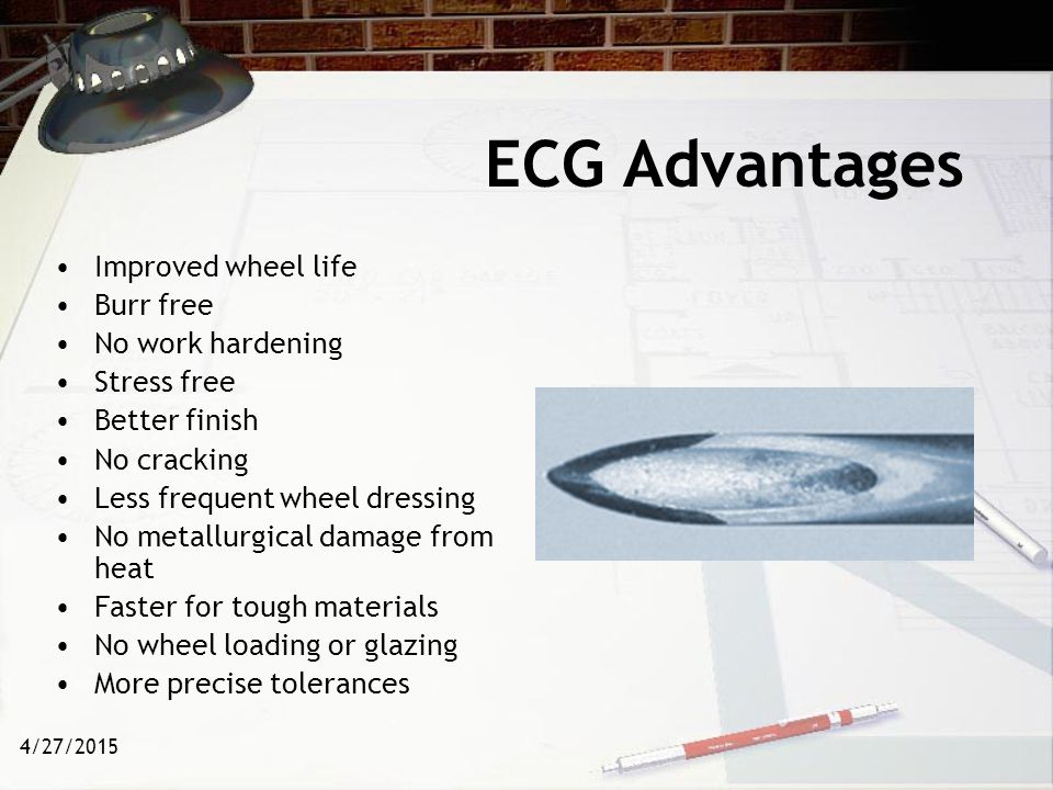 ECG Advantages Improved wheel life Burr free No work hardening