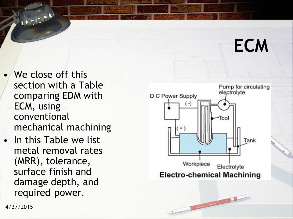 ECM We close off this section with a Table comparing EDM with ECM, using conventional mechanical machining.