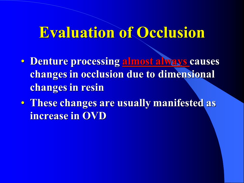 Evaluation of Occlusion