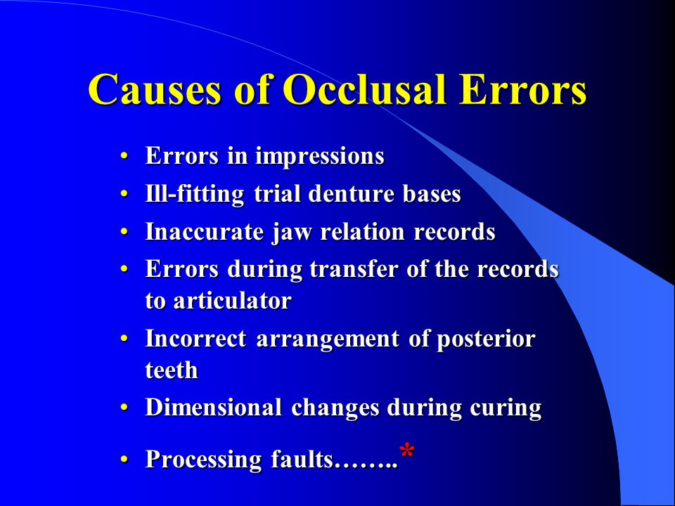 Causes of Occlusal Errors