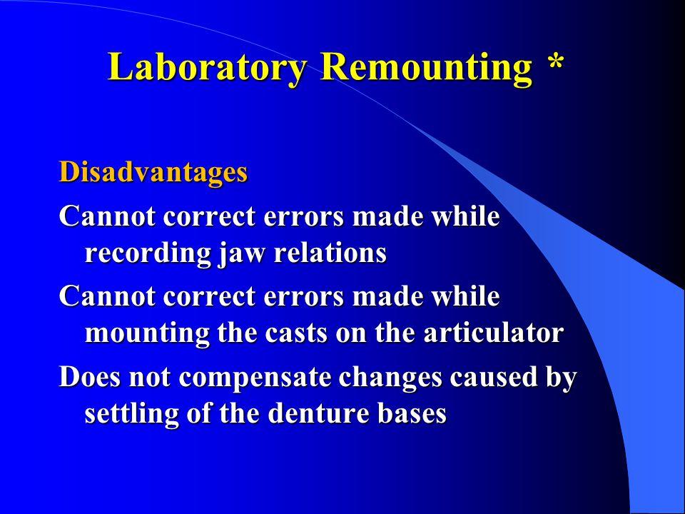 Laboratory Remounting *