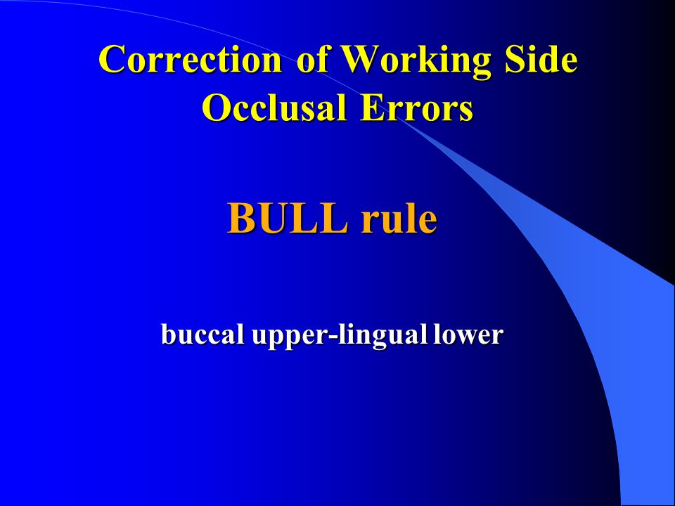 Correction of Working Side Occlusal Errors