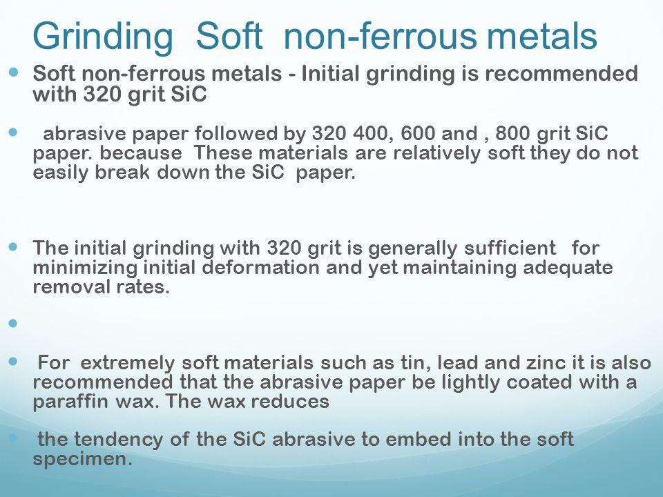 Grinding Soft non-ferrous metals