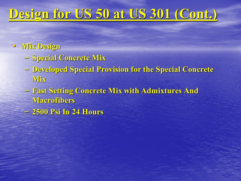 Design for US 50 at US 301 (Cont.)