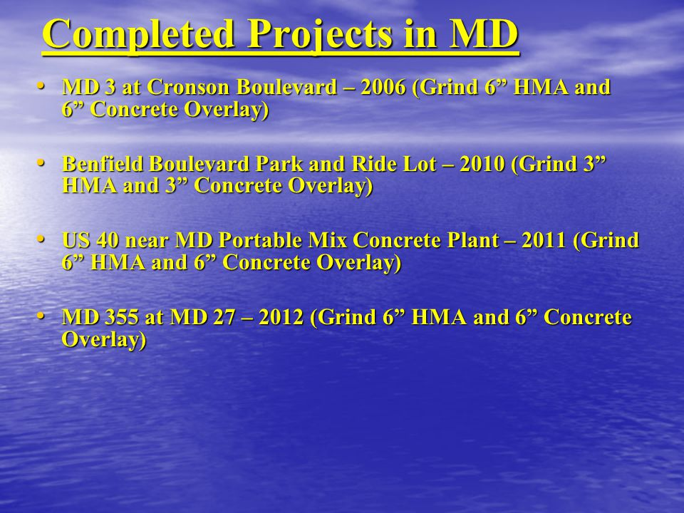 Completed Projects in MD