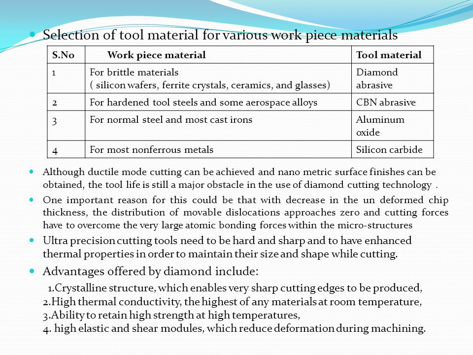 Selection of tool material for various work piece materials