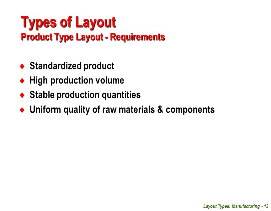 Types of Layout Product Type Layout - Requirements