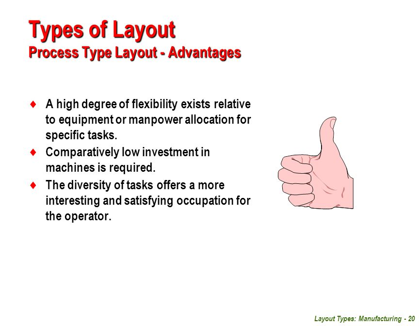 Types of Layout Process Type Layout - Advantages