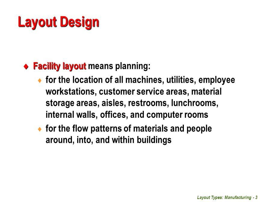 Layout Design Facility layout means planning: