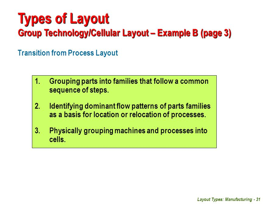 Types of Layout Group Technology/Cellular Layout – Example B (page 3)