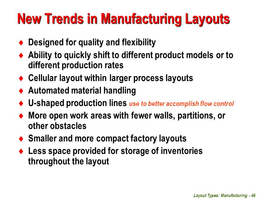 New Trends in Manufacturing Layouts