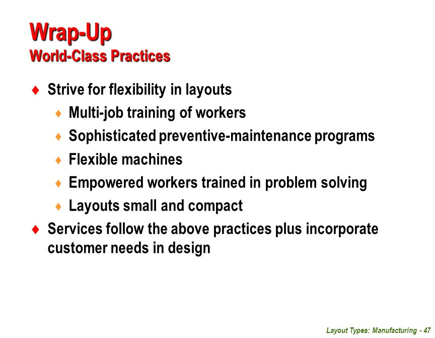 Wrap-Up World-Class Practices
