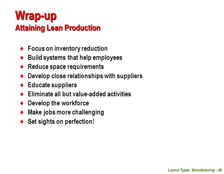 Wrap-up Attaining Lean Production