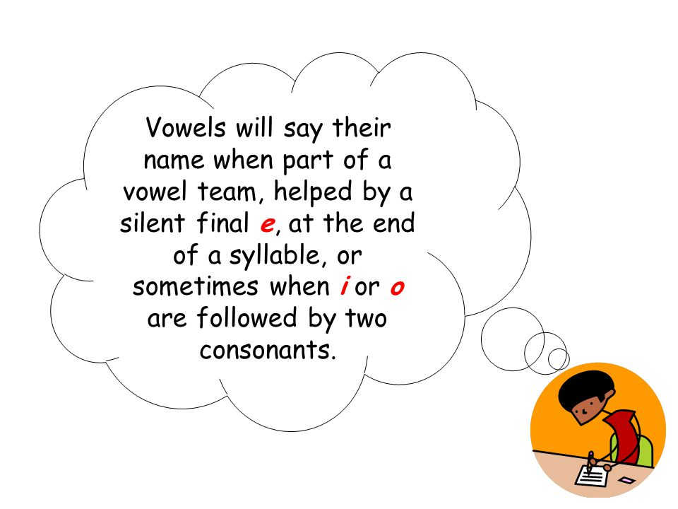 Vowels will say their name when part of a vowel team, helped by a silent final e, at the end of a syllable, or sometimes when i or o are followed by two consonants.