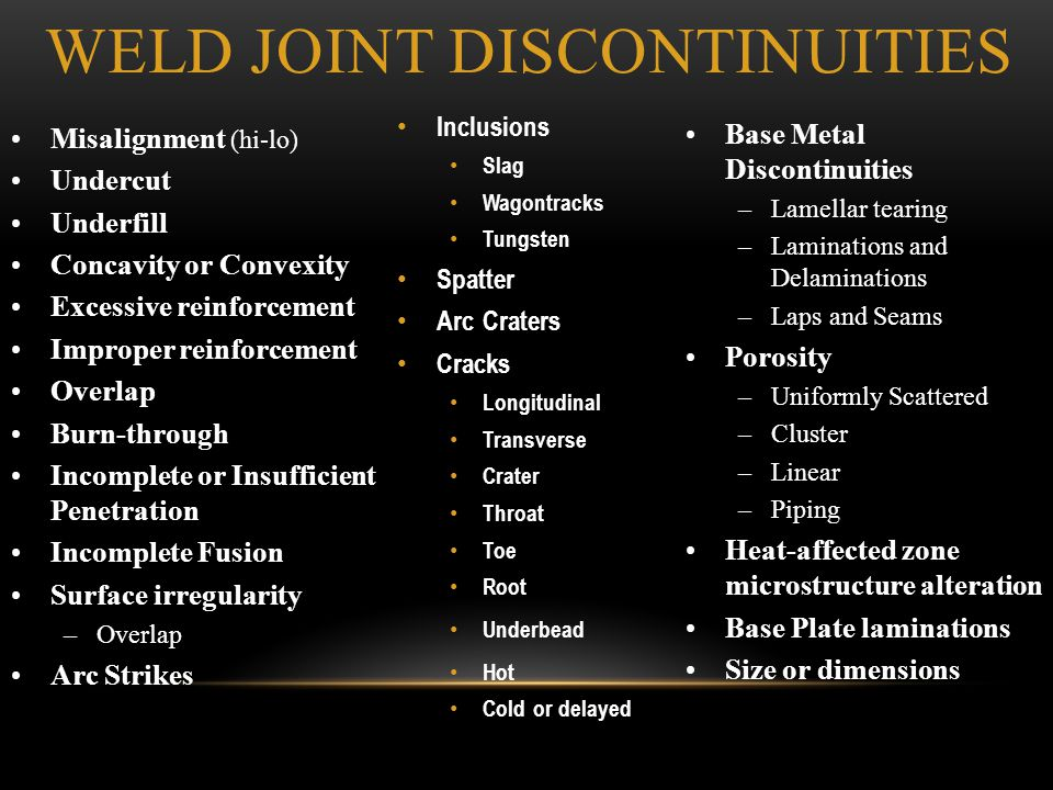 Weld Joint Discontinuities