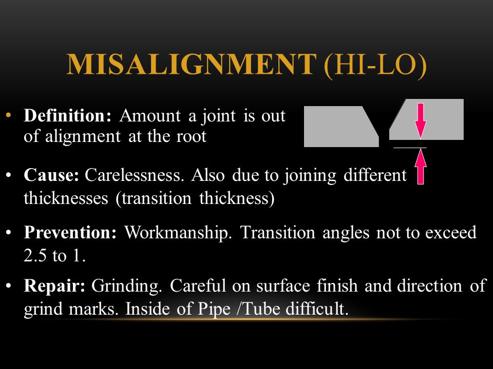 Misalignment (hi-lo) Definition: Amount a joint is out of alignment at the root.