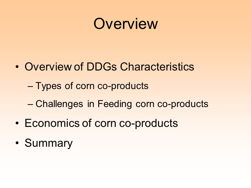 Overview Overview of DDGs Characteristics