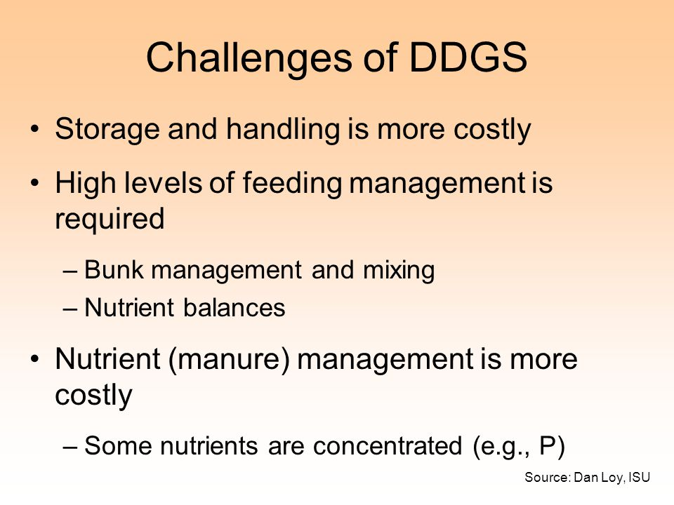 Challenges of DDGS Storage and handling is more costly
