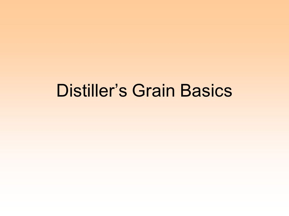 Distiller's Grain Basics