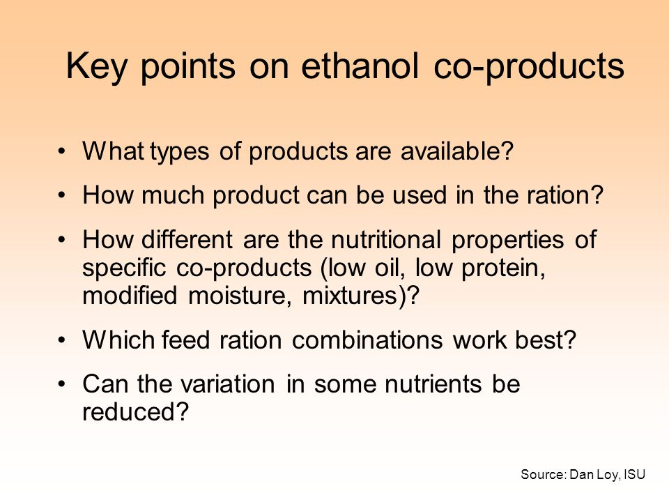 Key points on ethanol co-products