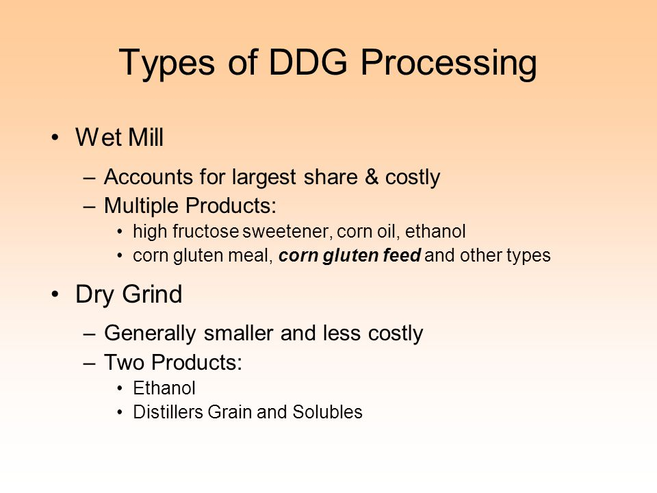 Types of DDG Processing